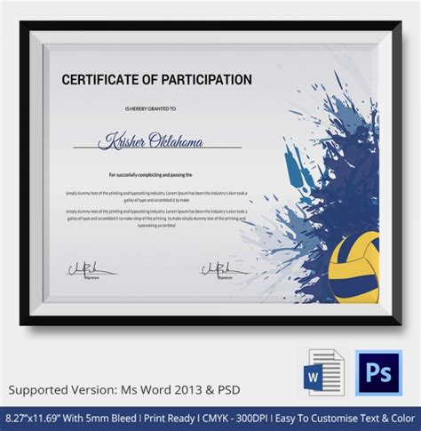 free printable volleyball award certificate templates volleyball certificate 5 word pdf documents download