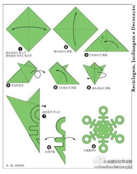 Simple Origami Snowflake - paper snowflake cutting pattern easy to follow folding