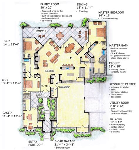 southwest house plans with courtyard house plan 56540 at familyhomeplans