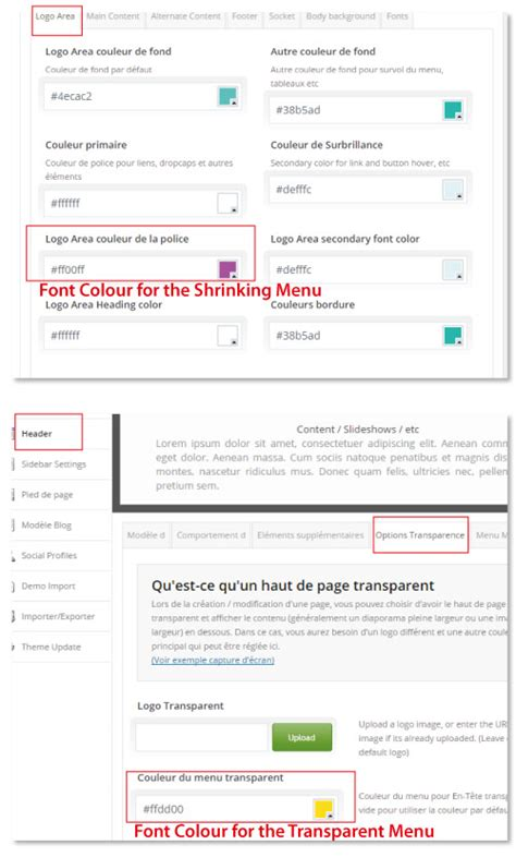 enfold theme header color changing menu font colour in shrinking header support