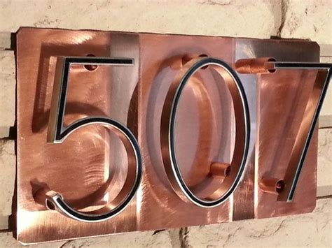 Address Directory House Number Address Plaque Raised Numbers On Polished Copper