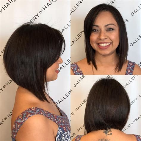 a line bob with swoopy bangs women s textured brunette a line bob with side swept bangs