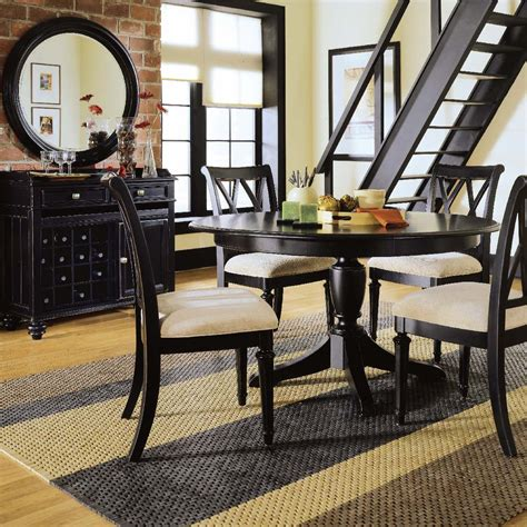 black dining room set american drew camden dark 7 piece round dining room set in black beyond stores