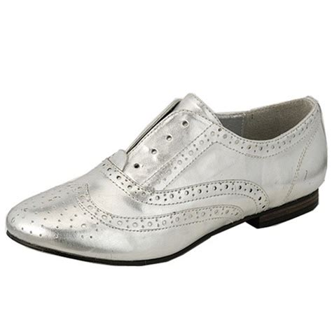 silver oxford shoes womens breckelle s silver faux leather womens flats low heel