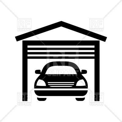 Garage Door Clipart Garage Black Icon Isolated On White Background Royalty