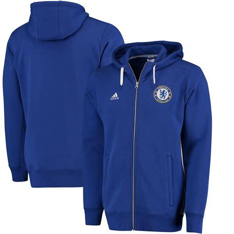 adidas chelsea blue 3 stripe zip hoodie