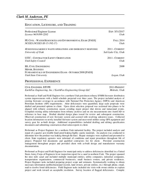 Licensure Of Resume Clark Pe Resume