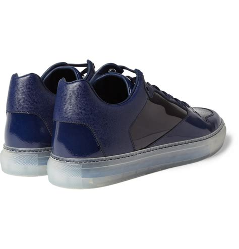 balenciaga blue sneakers balenciaga panelled leather sneakers in blue for lyst