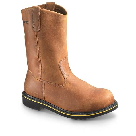 pull on work boots s wolverine foster steel toe pull on boots brown