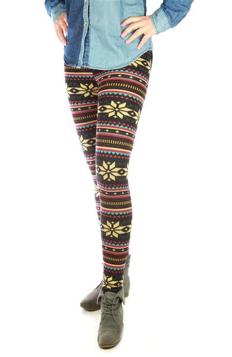 norwegian pattern tights warm lined leggings thermo winter teddy fleece norwegian