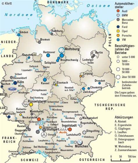 Audi Deutschland Standorte by Ernst Klett Verlag Infoblatt Deutsche Automobilindustrie