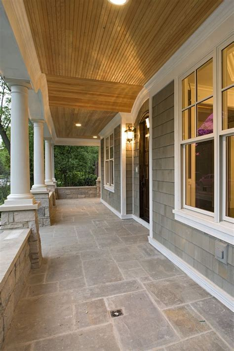 like the grey shingles with cedar ceiling and white trim