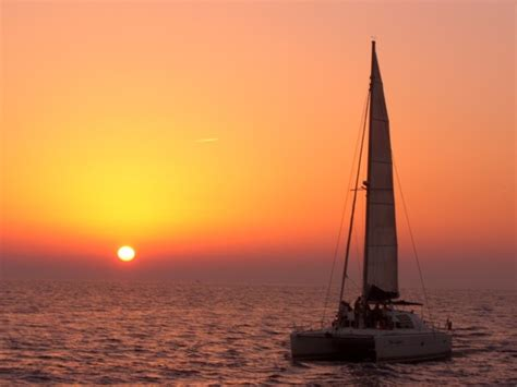 sunset sailing catamaran cruise santorini sunset tour semi private deluxe catamaran cruise