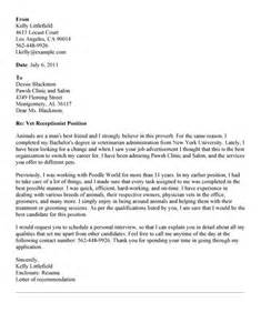 Cover Letter For Veterinarian by Cover Letter For Receptionist Whitneyport Daily