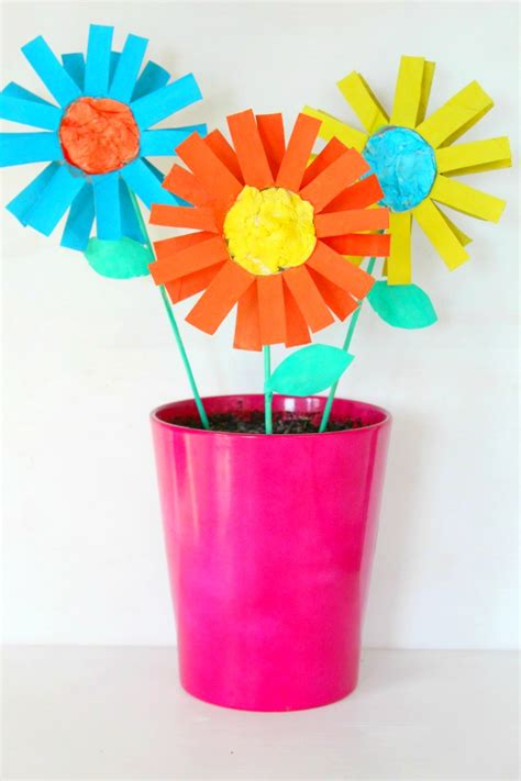 Paper Craft For Flowers - paper flowers kid craft easy tutorial