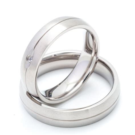 two matching 5mm titanium wedding bands promise rings for