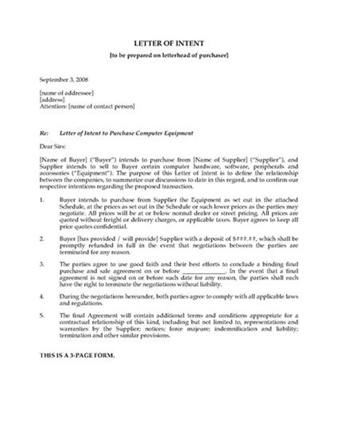 Letter Of Intent York Letter Of Intent To Purchase Computer Equipment Forms And Business Templates Megadox