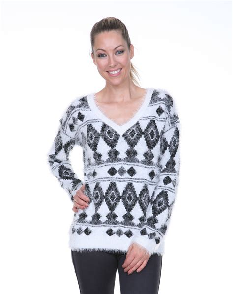 New Tribal White Sweater Rajut white tribal print sweater