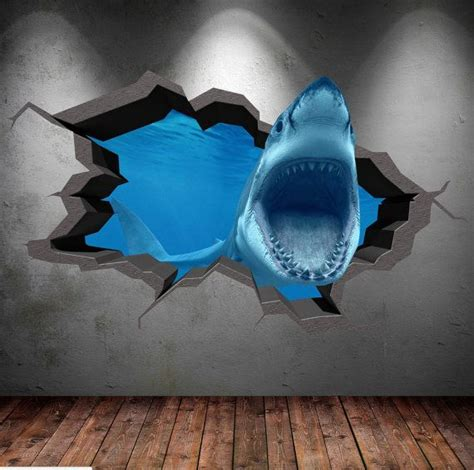 crack in bedroom wall shark 3d cracked sea cave hole full colour wall art