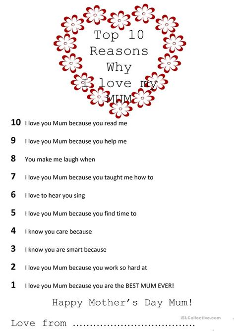 s day reason top 10 reasons why i my worksheet free esl