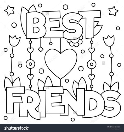 coloring pages for your best friend best friends coloring page vector illustration word