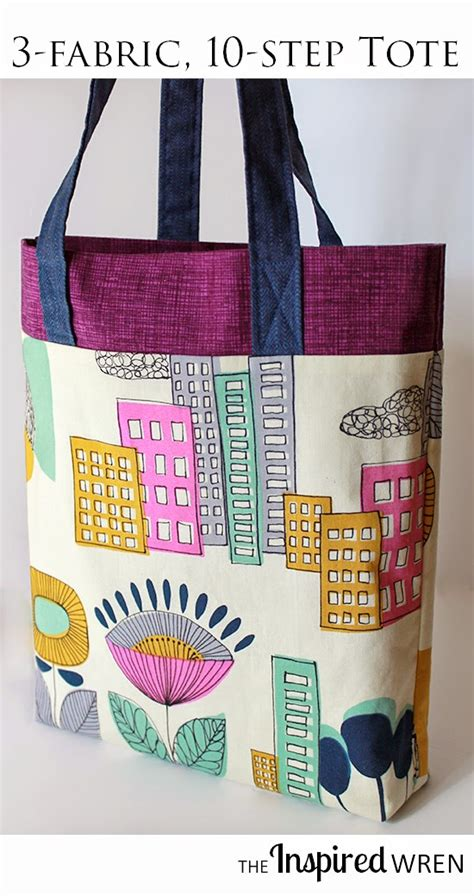 tutorial tote bag with lining the inspired wren tutorial giveaway the three ten tote