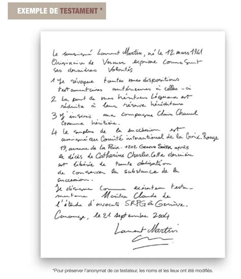 Modeles De Lettre Testament Modele Redaction Testament Olographe Document