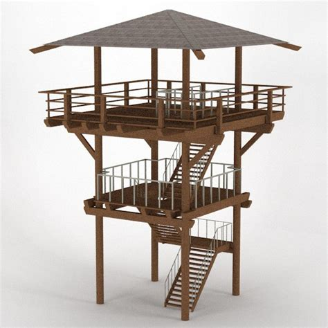 observation tower plans wood lookout tower 3d dxf