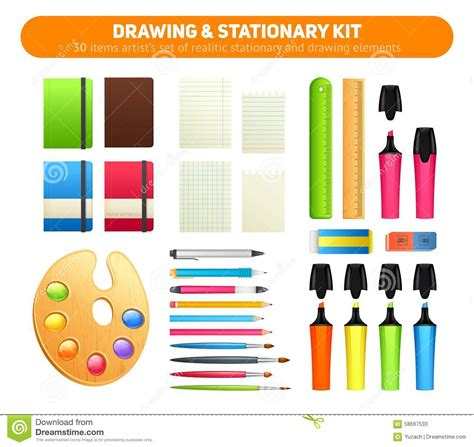 Paper Kit For - stationary kit of supplies for drawing and writing stock