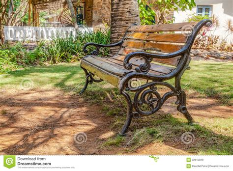 Landscape Timber Bench Cast Iron Wood Slatted Bench Garden Shade Cr2 Royalty Free