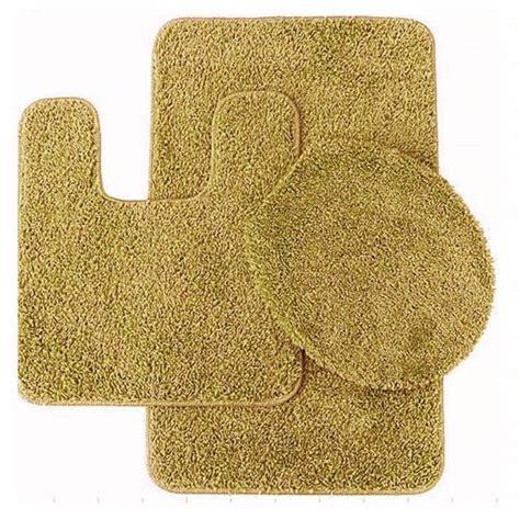 3 pc gold bathroom set bath mat rug contour and toilet