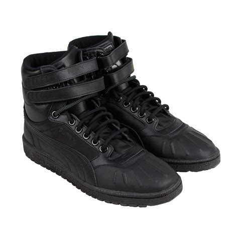 black high top sneakers mens sky ii hi duck boot mens black leather high top lace