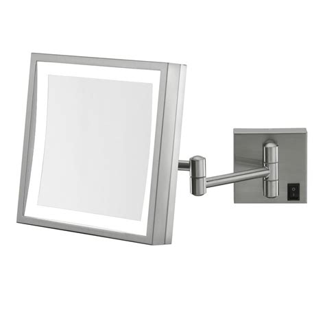 wall mounted lighted makeup mirror wall mounted makeup mirror square 3x in wall mirrors
