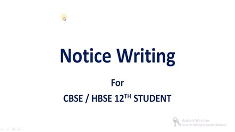 cbse pattern notice writing notice writing notice format class 11th 12th