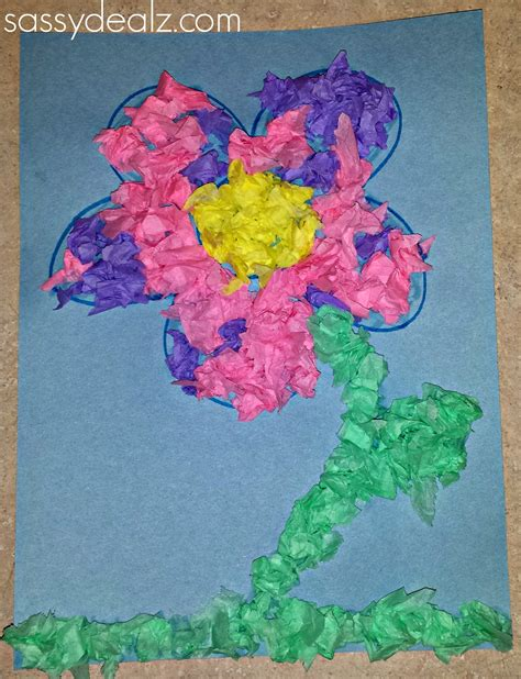 Flower Tissue Paper Craft - easy tissue paper flower craft for crafty morning