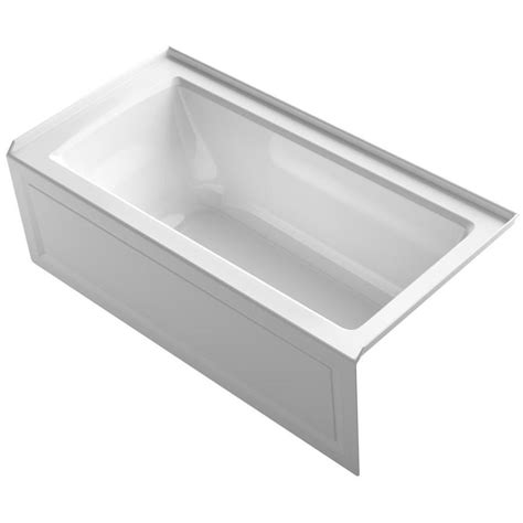 kohler bathtub shop kohler archer white acrylic rectangular alcove bathtub with right hand drain