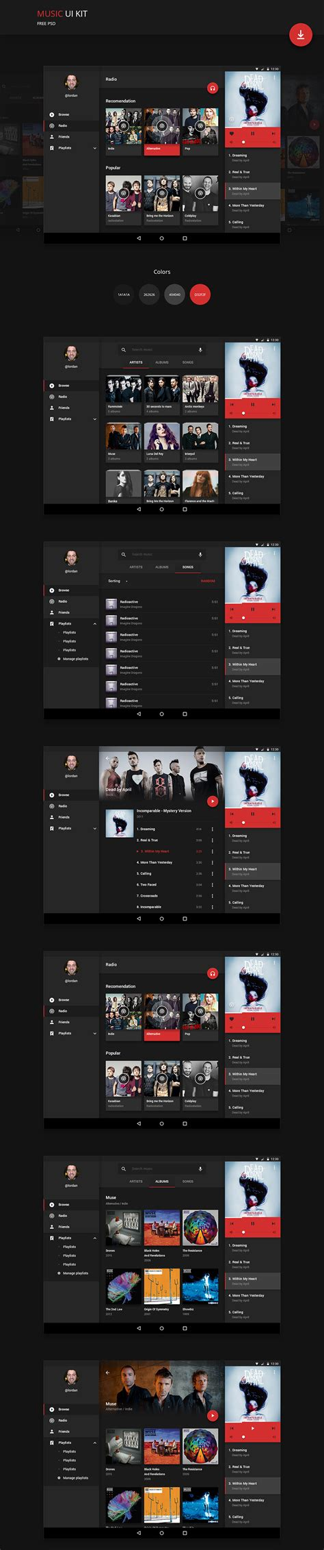 android song android application ui kit free psd psd