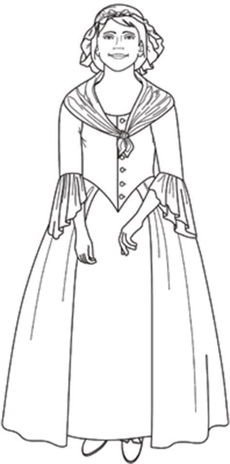 colonial girl coloring page heritage paper dolls june 2011