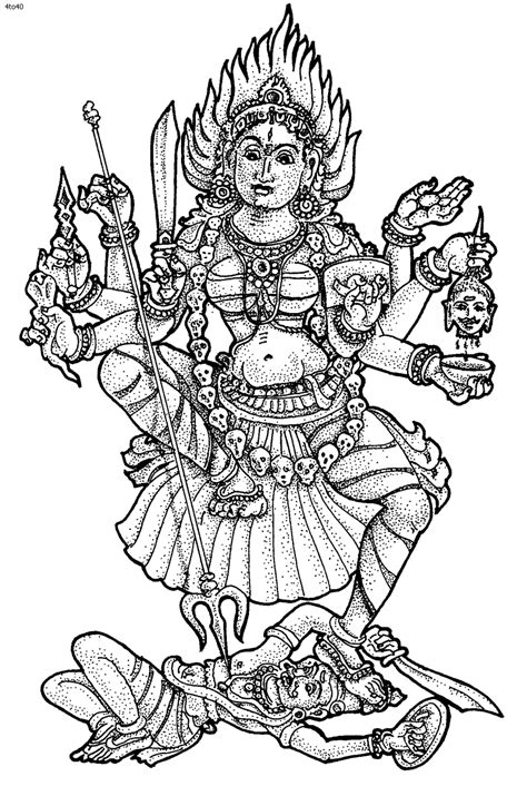coloring pages of indian gods kali hindu goddesses coloring page kali pinterest