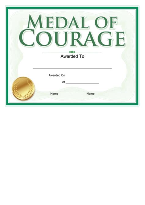 medal  courage award certificate template printable