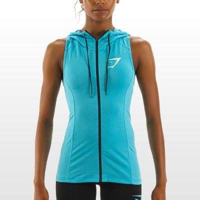 sleeveless hoodie design your own gymshark womens perforated sleeveless hoodie fluro blue