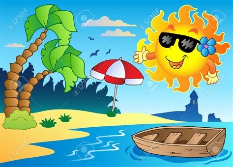 summer themed pictures seashore clipart summer scenery pencil and in color