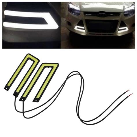 white led lights 12v ᑐ2pcs white cob led ᐃ daytime daytime running light drl