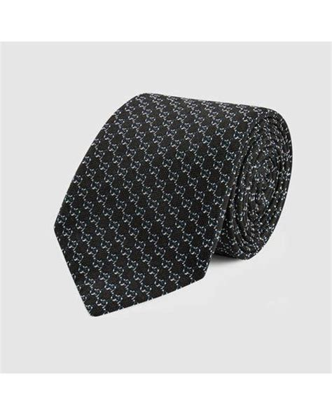 black gucci pattern gucci gg pattern silk tie in black for men lyst