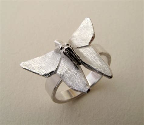 Origami Butterfly Ring - origami jewelry silver butterfly ring origami butterfly