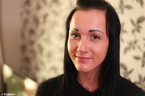 tattoo eyebrows daily mail blonde student regrets having black eyebrows tattooed onto