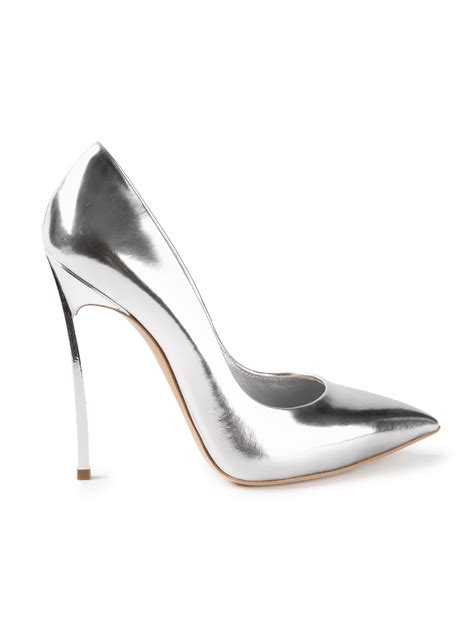 casadei high heels casadei high heel pumps in silver metallic lyst