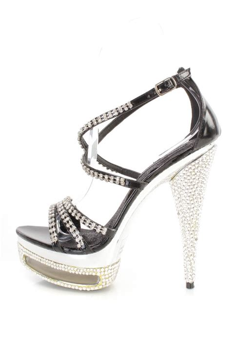 black high heels with rhinestones black rhinestone strappy platform 6 inch high heels faux