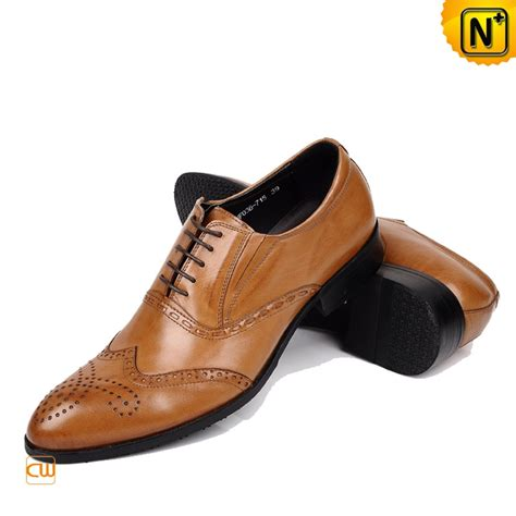 mens italian leather brogue shoes brown cw764076