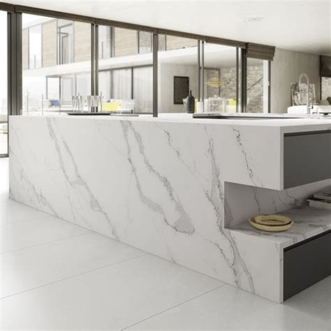 Images Of Kitchen Backsplashes Detalle Cocina Compac Quartz Calacatta Encimera Compac